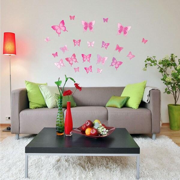 Pink Butterfly Set Animal Vinyl Wall Art