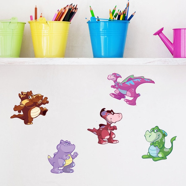 Colorful Baby Dino III Set - nursery boys wall decal sticker, deco, mural, vinyl wall art