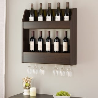 Everett Espresso Floating Wine and Liquor Rack