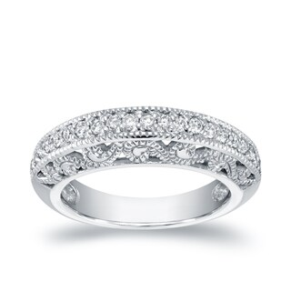 Auriya 14l White Gold 1/2ct TDW Round Diamond Milgrain Band (H-I, SI1-SI2)