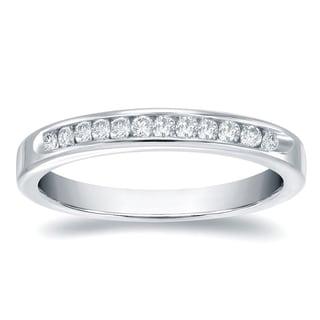 Auriya 14k Gold 1/3ct TDW Round-Cut Diamond Channel Band (H-I, SI1-SI2)