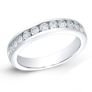 Auriya 14k Gold 1ct TDW Round-Cut Diamond Channel Band (H-I, SI1-SI2)