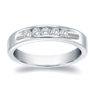 Auriya 14k Gold 1/3ct TDW Round Cut Diamond Channel Band (H-I, SI1-SI2)