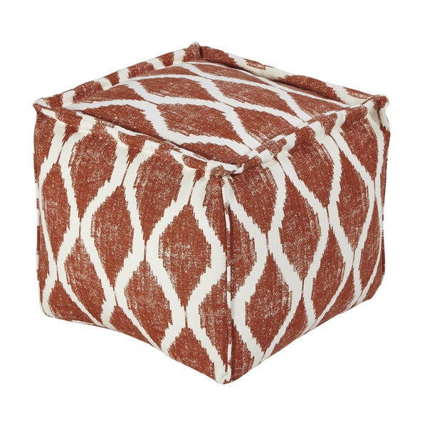 SB Signature Design by Ashley Bruce Orange/White Pouf