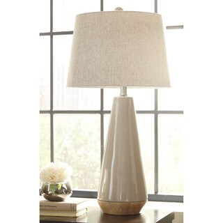 Signature Design by Ashley Sheray Taupe Ceramic Table Lamp