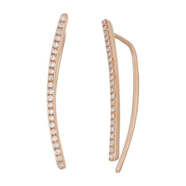 14k Yellow Gold 1/5ct TDW Diamond Curved Climber Earrings