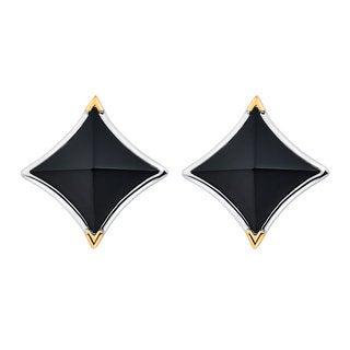 18k Gold and Sterling Silver Peaked Black Onyx Earrings