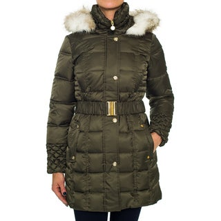 Betsey Johnson Belted Puffer Coat with Jewel Buttons
