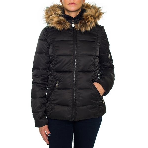 Betsey Johnson Short Puffer Zip Coat with Faux Fur