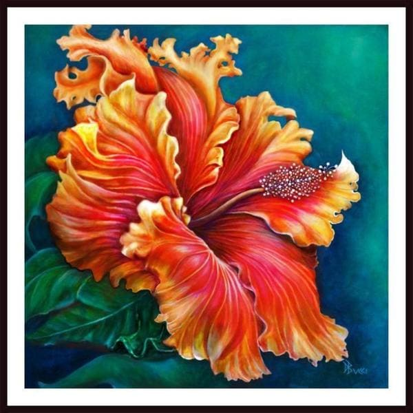 Debra Bucci 'Hibiscus Fever - Orange' Framed Art