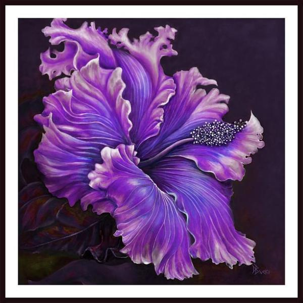 Debra Bucci 'Hibiscus Fever - Purple' Framed Art