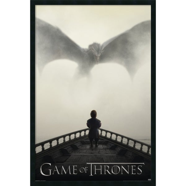 Game of Thrones - Lion and Dragon' Framed with Gel Coated Finish 25 x 37-inch