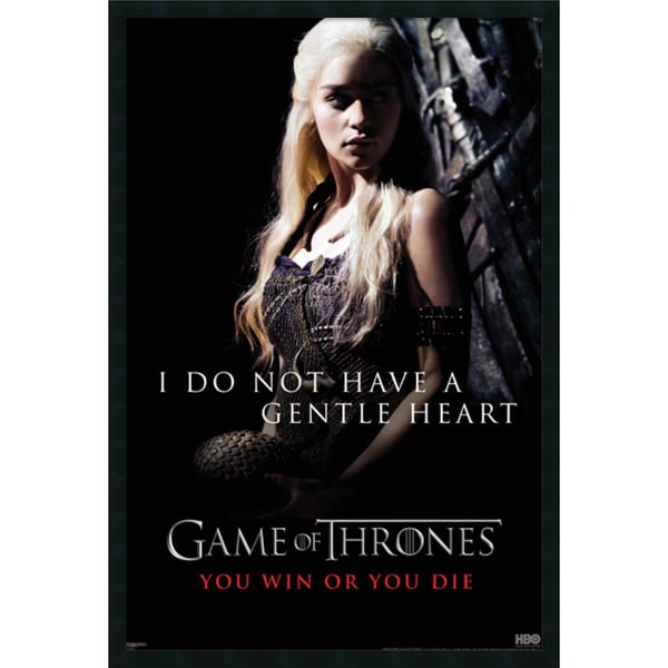 Game of Thrones : Gentle Heart' Framed with Gel Coated Finish 25 x 37-inch