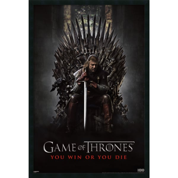Game of Thrones : You Win or You Die' Framed with Gel Coated Finish 25 x 37-inch