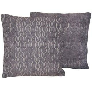 "Herat Oriental Indo Handmade Printed Cotton 20"" Pillows (Set of Two)"