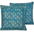 Herat Oriental Indo Handmade Blue Printed Cotton 20 Inch Pillows (India)