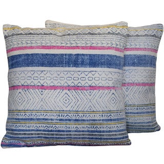 Herat Oriental Indo Handmade Printed Cotton 20-inch Pillows (Set of Two) (India)