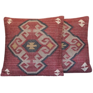 Herat Oriental Indo Handmade Wool/ Jute 20-inch Pillows (Set of 2)