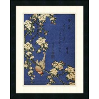 Hokusai 'Weeping Cherry and a Bullfinch' 18x22-inch Framed Art Print