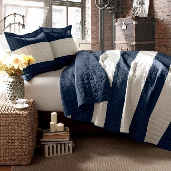 Lush Decor Berlin Stripe 3-piece King Quilt Set in Navy (As Is Item)