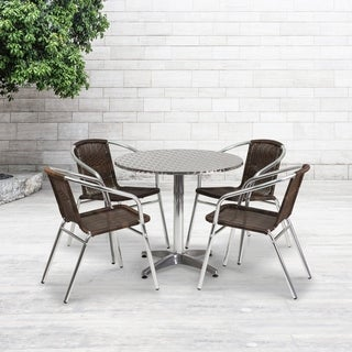 31.5-foot Round Aluminum Indoor/ Outdoor Table with 4 Rattan Chairs