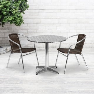 31.5-foot Round Aluminum Indoor/ Outdoor Table with 2 Rattan Chairs