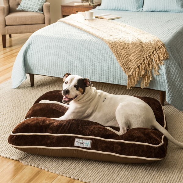"Beautyrest Channel Top Napper Rectangle Pet Bed by Simmons 27""x36"" in Sand ( As Is Item)"