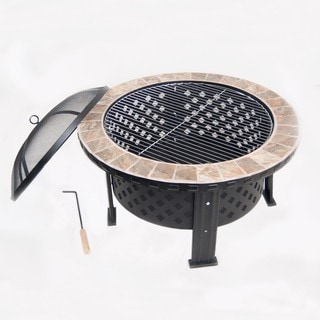 Phat Tommy 30 Inch Tile Top Fire pit and Grille