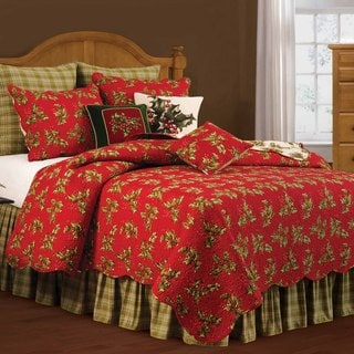 Holly Red Cotton Quilt and Sham Separates