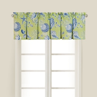Green Shell Cotton Valance Set of 2