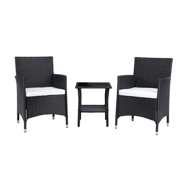 Baner Garden Outdoor Furniture Complete Patio Brown 3-piece Cushion PE Wicker Rattan Garden Set