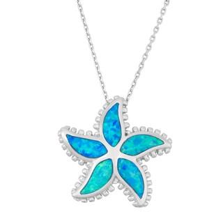 La Preciosa Sterling Silver Blue Opal Starfish Necklace