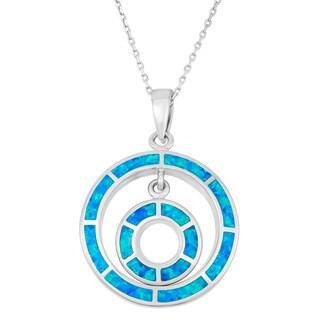 La Preciosa Sterling Silver Blue Opal Double Circle Necklace