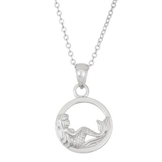 La Preciosa Sterling Silver Mermaid in Circle Pendant