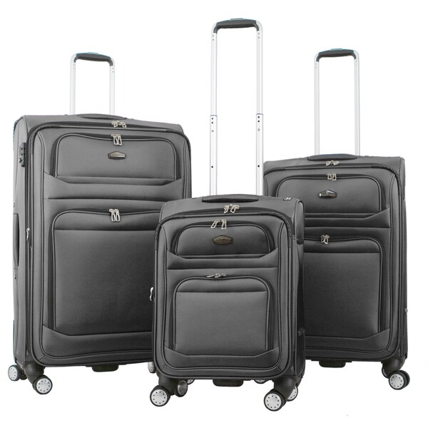 Gabbiano Valencia Two-tone Ballistic Nylon 3-piece Expandable Spinner Luggage Set