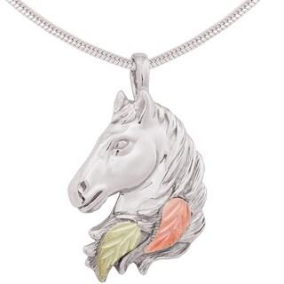 Black Hills Gold over Silver Horse Pendant