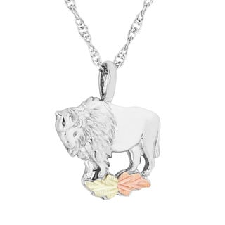 Black Hills Gold over Silver Buffalo Pendant