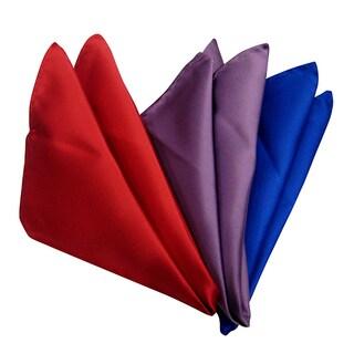 Dmitry Men's Italian Silk Solid Color Pocket Squares (Pack of 3)