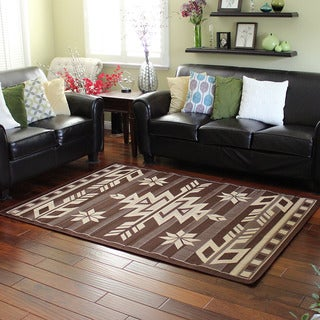 Bahamas 672 Southwestern Design Chocolate Indoor/Outdoor Area Rug (5' x 7')
