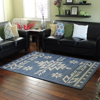 Bahamas 672 Southwestern Design Blue Indoor/Outdoor Area Rug (5' x 7')