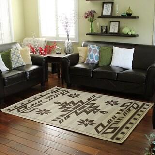 Bahamas 672 Southwestern Design Beige Indoor/Outdoor Area Rug (5' x 7')