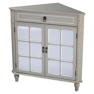 Heather Ann Mirror Insert Double Door, Single Drawer Wooden Corner Cabinet