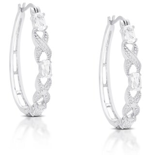 Dolce Giavonna Sterling Silver White Topaz XO Hoop Earrings