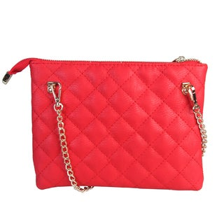 Rimen and Co. Faux Leather Quilted Small Crossbody Clutch with Thin Metal Chain