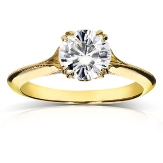 Annello 14k Yellow Gold Forever Brilliant Moissanite and Diamond Antique Flower Head Soft Knife Edge Ring (G-H, I1-I2)