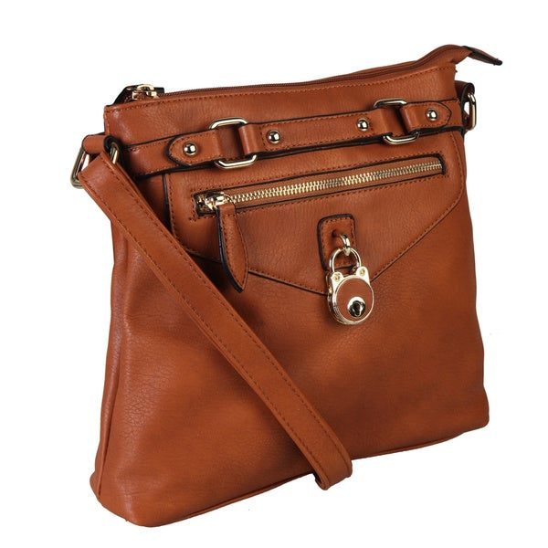 Diophy Solid Color Belt and Oversize Keylock Crossbody Handbag