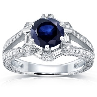 Annello 14k White Gold Blue Sapphire and 1/2ct TDW Diamond Art Deco Ring (G-H, SI)