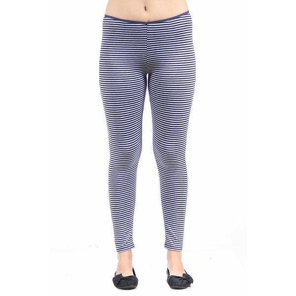 24/7 Comfort Apparel Women's Navy/ Grey Stripped Leggings