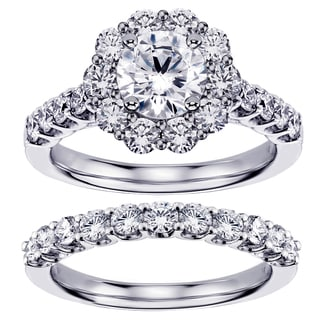White Gold or Platinum 2 2/5ct TDW Brilliant Cut Diamond Halo Engagement Bridal Set (G-H, SI1-SI2)