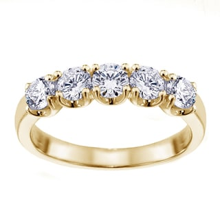 14k/18k Yellow Gold 1ct TDW Split Prong Diamond Anniversary Wedding Ring